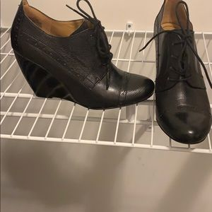 Black leather wedge